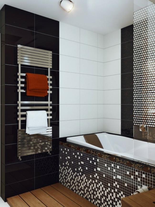 baie alb negru mozaic