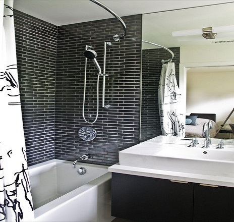 baie alb negru stil zid
