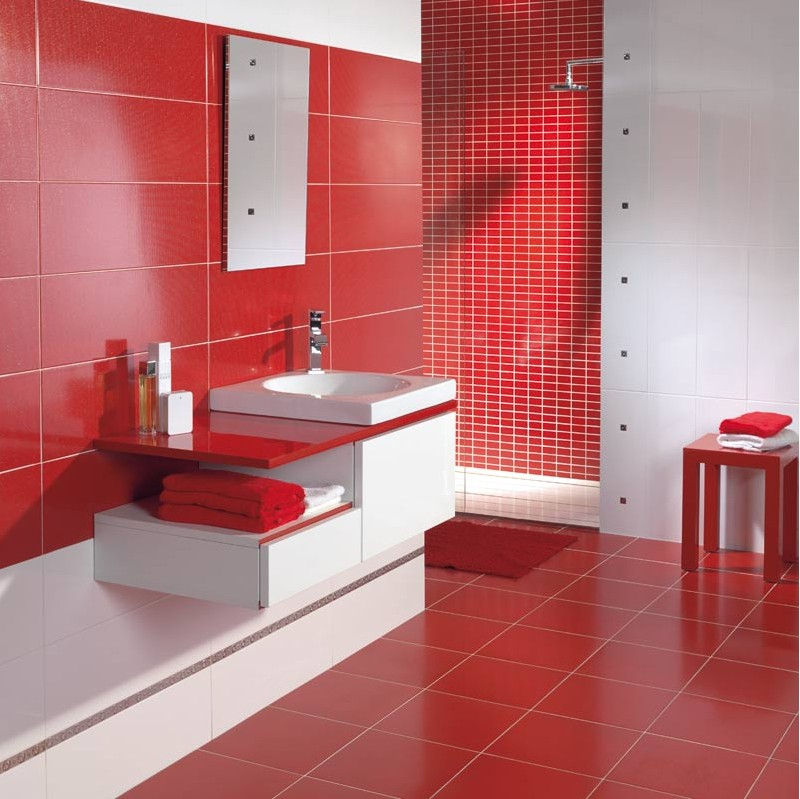 Fotografii amenajari bai for Salle de bain carrelage rouge