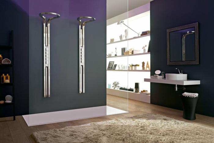 baie negru violet cu dus din sticle