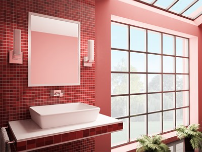 baie moderna rosu combinat alb