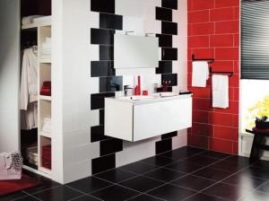 baie moderna rosu alb negru