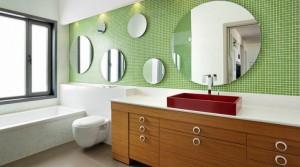 baie mozaic alb verde