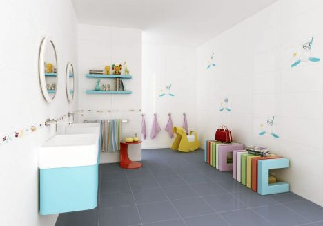 baie albastru alb copii
