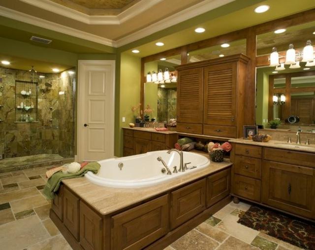 combinatie verde lemn in baie