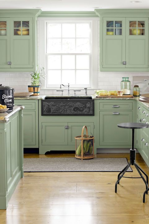 Olive Green Painted Kitchen Units